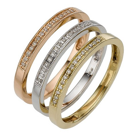 9ct three colour gold diamond stack ring