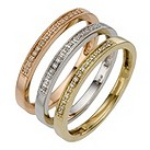 9ct three colour gold diamond stack ring - Product number 8204454