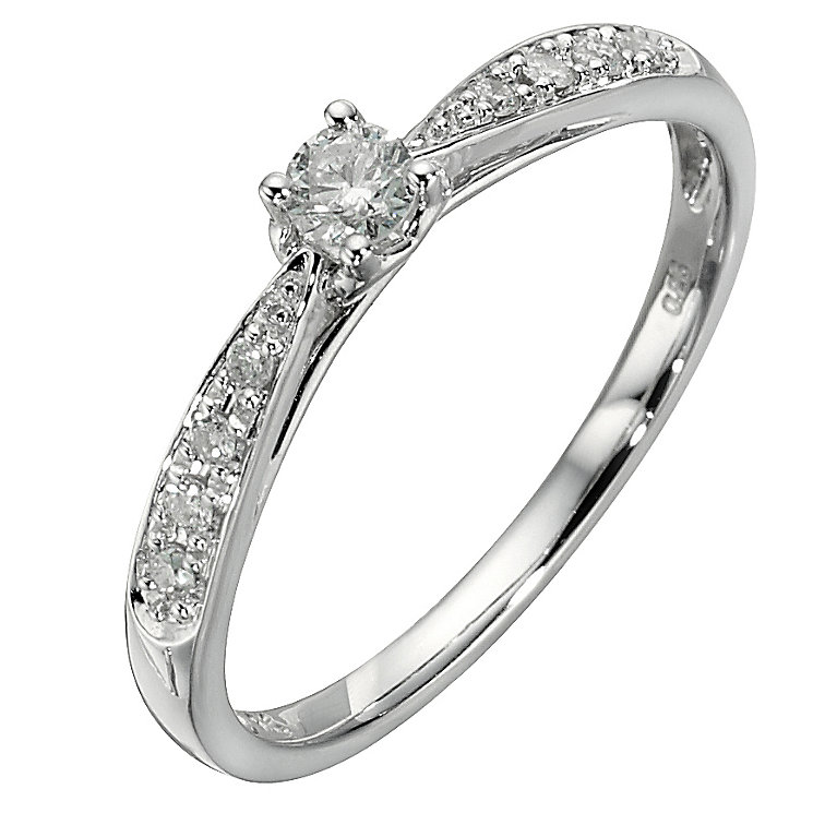 9ct white gold quarter carat diamond solitaire ring - Product number 8204632