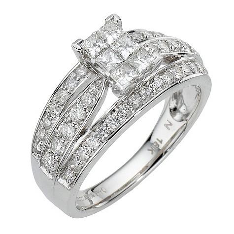 18ct white gold 1 carat diamond bridal ring