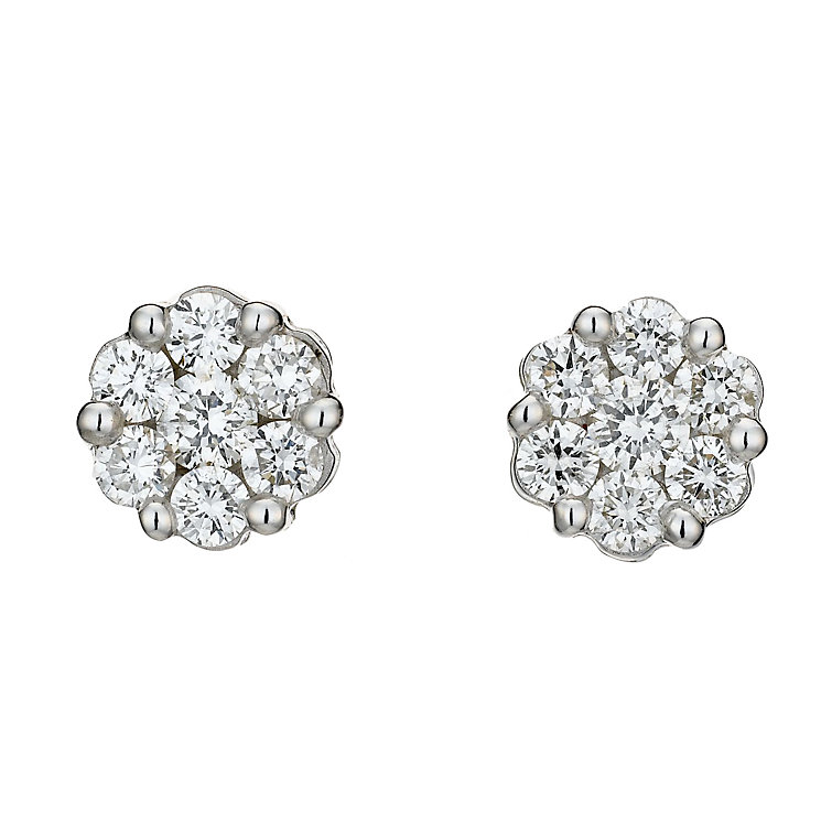 9ct white gold three quarter carat diamond cluster earrings - Product number 8208425
