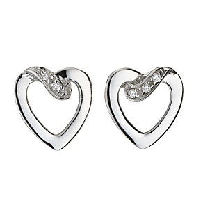 9ct white gold diamond love heart earrings - Product number 8208646