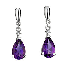 9ct white gold amethyst & diamond drop earrings - Product number 8208654