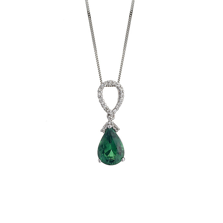 9ct white gold created emerald and diamond drop pendant - Product number 8209049