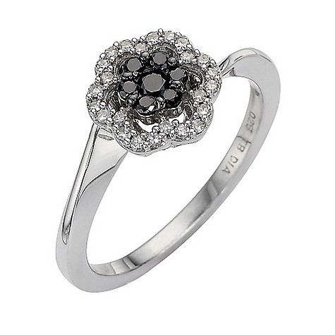 9ct white gold quarter carat black and white diamond ring