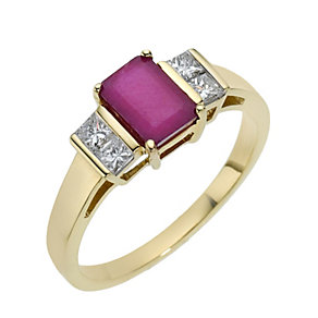 18ct diamond & emerald cut ruby ring - Product number 8209200