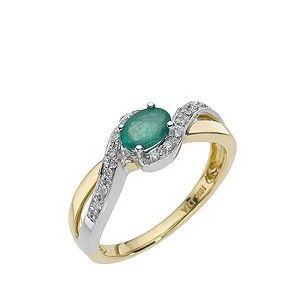 18ct two colour gold emerald & diamond ring - Product number 8209723