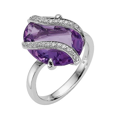 9ct white gold amethyst and diamond wrap ring