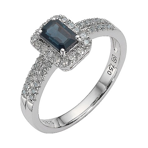 18ct white gold quarter carat diamond and sapphire ring