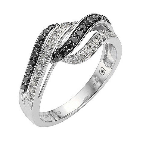 9ct white gold third carat black and white diamond ring