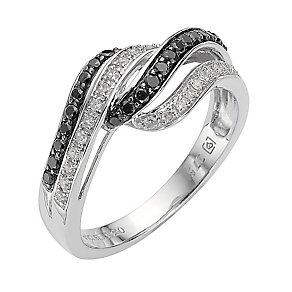 9ct white gold 0.33ct white & treated black diamond ring - Product number 8210780