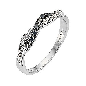 9ct white gold treated black diamond twist ring - Product number 8211574