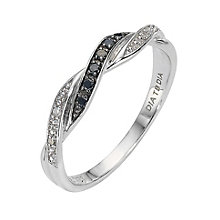 Vivid 9ct white gold treated black diamond twist ring - Product number 8211574