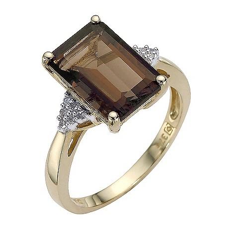 9ct gold smokey quartz and diamond ring