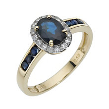 9ct yellow gold diamond & sapphire cluster ring - Product number 8211833