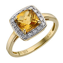 9ct yellow gold citrine/diamond ring - Product number 8212104