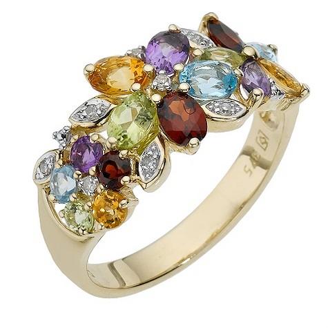 9ct yellow gold mixed semi precious stone ring