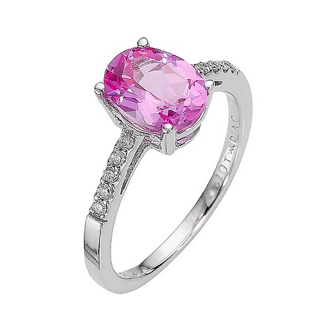 9ct white gold created pink sapphire and diamond ring