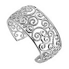 Sterling silver and diamond set swirl bangle - Product number 8213453