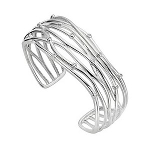 Sterling silver and diamond set scattered bangle - Product number 8213461