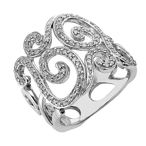 Sterling silver half carat diamond vintage style swirl ring