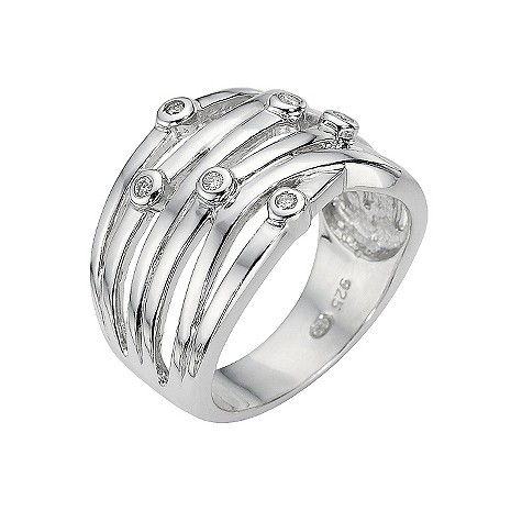Sterling silver and diamond set scattered ring