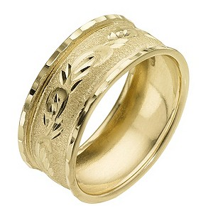 9ct Yellow Gold Swirl Pattern Ring