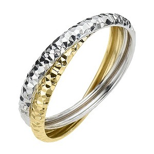 H Samuel 9ct Two Colour Gold Russian Wedding Ring