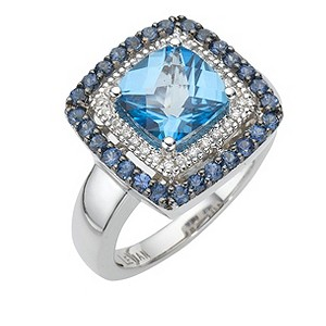 LeVian 14ct gold diamond, topaz & sapphire ring - Product number 8214638