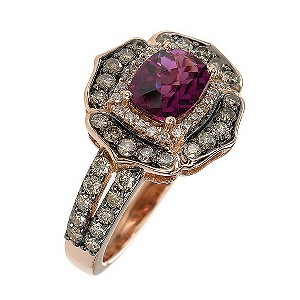 LeVian 14CT Strawberry Gold 0.80CT Diamond & Rhodalite Ring - Product number 8214751