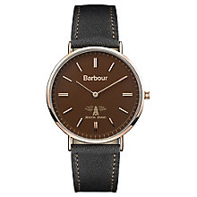 Barbour Hartley Men's Rose Gold Plated Brown Strap Watch - Product number 8216169