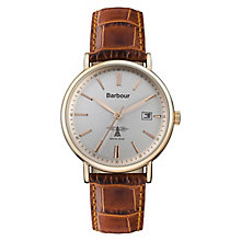 Barbour Bamburgh Men's Brown & Rose Gold Plated Strap Watch - Product number 8216185