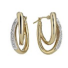 9ct gold diamond set double hoop earrings - Product number 8217513