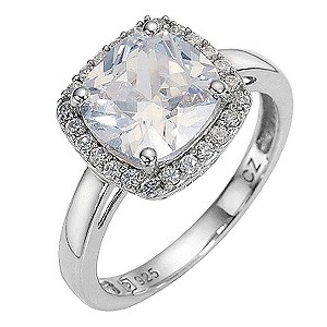 Platinum Plated and Silver Cubic Zirconia Ring - Size P
