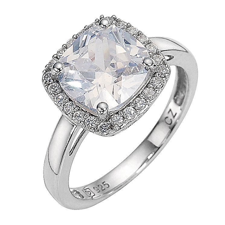 platinum plated and silver cubic zirconia ring size l