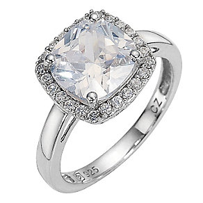 Platinum Plated and Silver Cubic Zirconia Ring - Size N - Product number 8218676