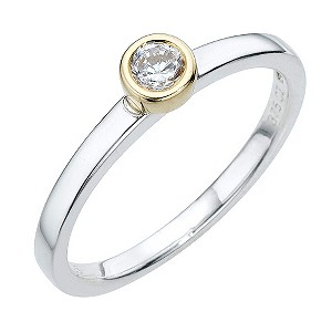 Sterling Silver 9ct Yellow Gold Cubic Zirconia Round Ring
