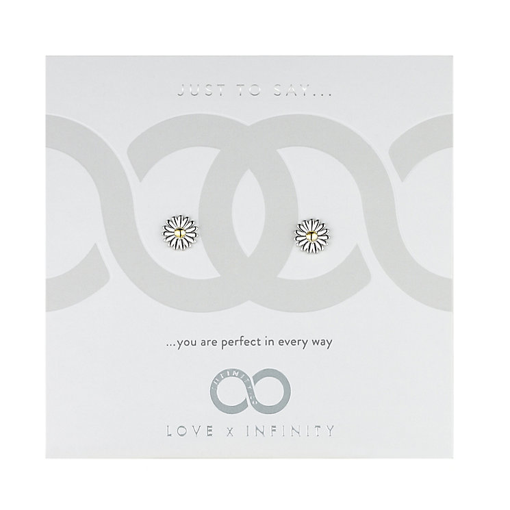 Love x Infinity Silver & Yellow Gold Daisy Earrings - Product number 8220166