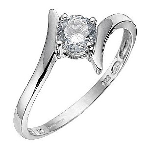 9ct White Gold Cubic Zirconia Ring