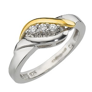 Sterling Silver 9ct Yellow Gold Cubic Zirconia Twist Ring
