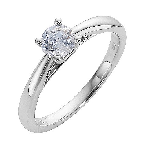 9ct white gold half carat diamond solitaire ring