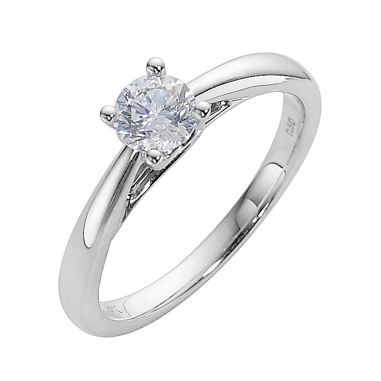 9ct white gold half carat diamond solitaire ring - Product number 8223874