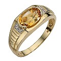 9ct Gold Citrine and Diamond Ring - Product number 8224285