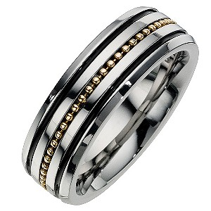 Men's Stainless Steel & 9ct Yellow Gold Ring - Product number 8224684
