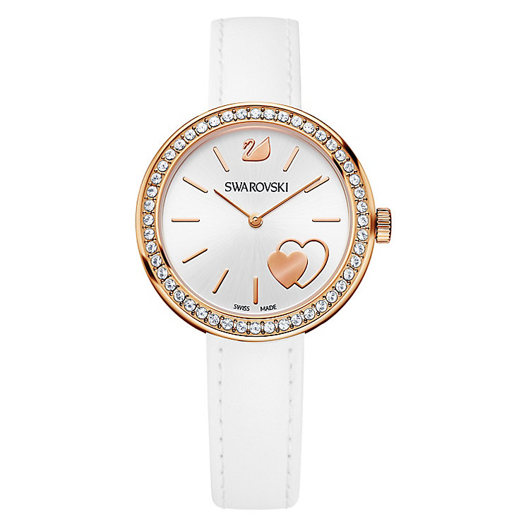 Swarovski Daytime Heart Ladies' White Leather Strap Watch - Product number 8228930