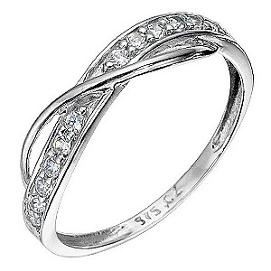 9ct White Gold Cubic Zirconia Cross Over Ring