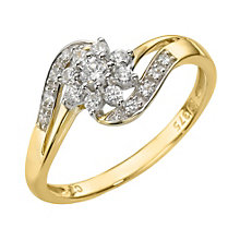 9ct Yellow Gold Cubic Zirconia Cluster Ring - Product number 8229856