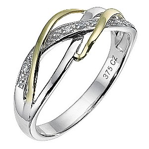 9ct Yellow Gold and Silver Cubic Zirconia Weave Ring - Product number 8230579