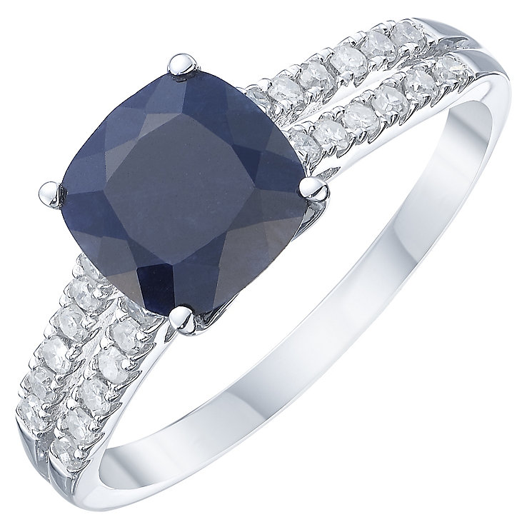 18ct White Gold Blue Sapphire & Diamond Solitaire Ring - Product number 8235171