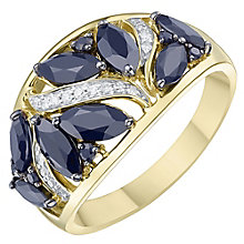 9ct Yellow Gold Dark Blue Sapphire & Diamond Ring - Product number 8235449